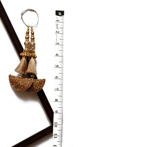 Matte Gold Half-moon Latkan With Tassel & Cutdana (Set Of 2)