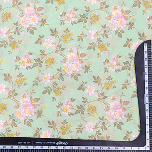 Pastel Green Cotton Silk Fabric With Digital Print