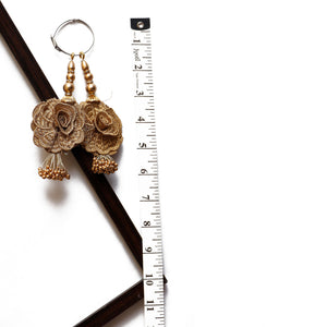 Gold 3D Floral Latkan With Pearl (Set Of 2)