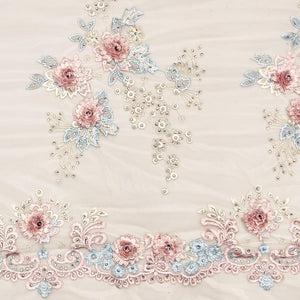 Peach Imported Embroidered Net Fabric With 3D Applique, Pearl, Stone & Threadwork