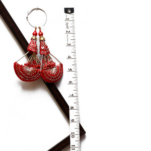 Red Half-moon Latkan With Pearl & Sequin (Set Of 2)