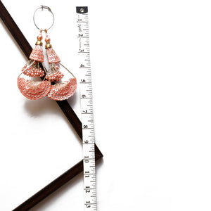Peach Half-moon Latkan With Pearl & Sequin (Set Of 2)
