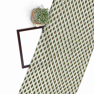Olive Green Cotton Silk Fabric With Digital Print