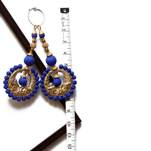 Royal Blue Disc Shaped Latkan With Bulbs (Set Of 2)