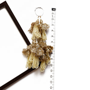 Light Gold Net Sequin Latkan With Pearl Tassel (Set Of 2)