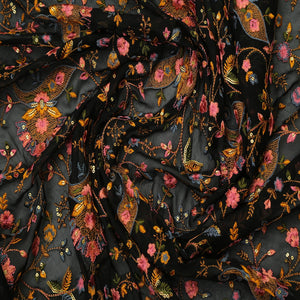 Black Georgette Fabric Multicolor Kashmiri Embroidery