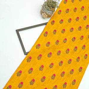 Mustard Yellow Raw Silk Embroidery Fabric With Resham Work