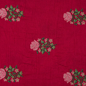 Rani Pink Raw Silk Embroidery Fabric With Resham Work