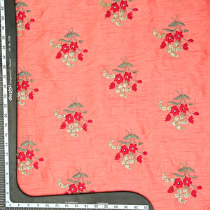 Peach Raw Silk Embroidery Fabric With Resham & Sequin Work