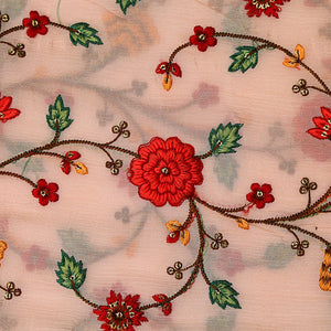 Baby Pink Chinon Crepe Fabric With Resham Work