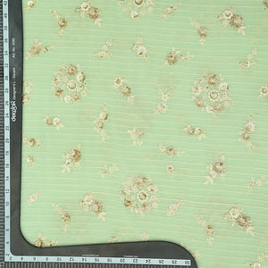 Pista Green Chinon Crepe Fabric With Sequin & Thread Work