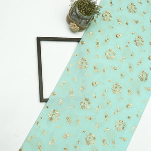 Light Blue Chinon Crepe Fabric With Sequin & Thread Work