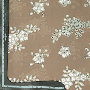 Beige Georgette Fabric With Gota Foil Work
