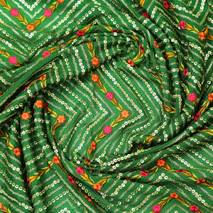Bottle Green Georgette Fabric With Sequin & Resham Work