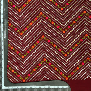 Maroon Georgette Fabric With Sequin & Resham Work
