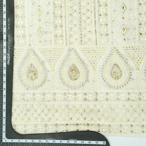 Dyeable White Lucknowi Georgette Fabric With Sequin & Gota Work