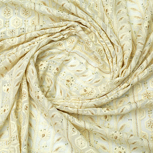 Dyeable White Lucknowi Georgette Fabric With Sequin & Zari