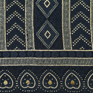 Navy Blue Lucknowi Georgette Fabric With Zari & Sequin