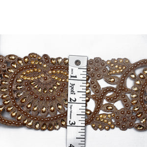 Rose Gold Cutwork Lace With Stone & Pearl Handwork