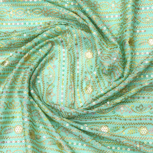 Mint Blue Chinon Crepe Fabric With Sequin & Multi-color Thread Work