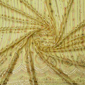 Yellow Chinon Crepe Fabric With Sequin & Multi-color Thread Work