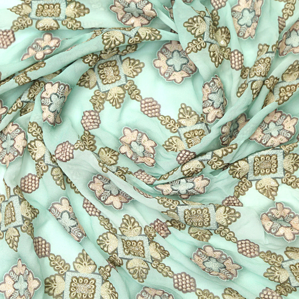 Green Georgette Fabric Placement Print & Sequin