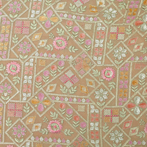 Peach Georgette Fabric With Resham & Sequin Work