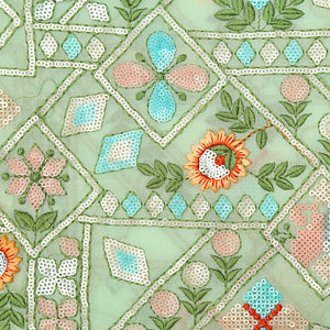Pista Green Georgette Fabric With Resham & Sequin Work