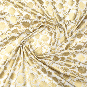 Dyeable White Woven Banarasi Brocade Silk With Gold Zari