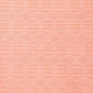 Peach Georgette Fabric Chikan Work