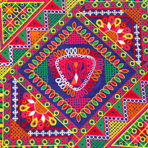 Blue Chanderi Silk Fabric Multi-color Kutchi Work