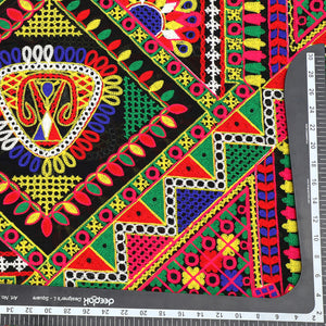 Black Chanderi Silk Fabric Multi-color Kutchi Work