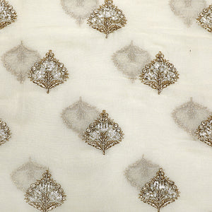 Dyable Off-white Matte Georgette Fabric Badla & Sequin Work