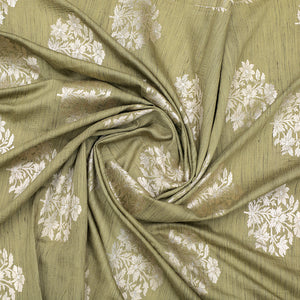 Olive Green Hand-woven Banarasi Brocade Khadi Silk With Light Gold Zari
