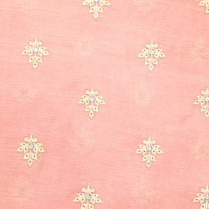 Peach Soft Banarasi Silk Fabric With Threadwork