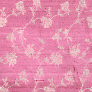 Onion Pink Hand-woven Banarasi Brocade Pure Raw Silk With Light Gold Zari