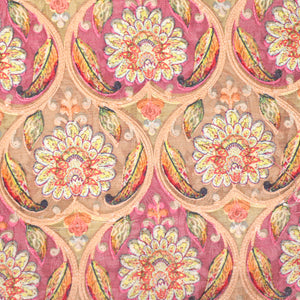 Placement Print On Pure Muga Silk With Thread Embroidery