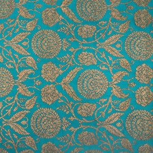 Peacock Blue Hand-woven Kinkhwab  Banarasi Fabric With Gold Zari