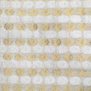 Dyeable White Pure Banarasi Georgette Fabric With Silver &  Gold Zari