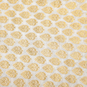 Dyeable White Pure Banarasi Georgette Fabric With Gold Zari