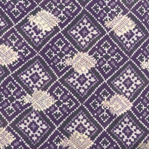 Purple Digital Patola Print On Pure Hand-woven Muga Silk With Light Gold Zari