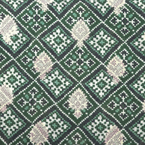 Dark Green Digital Patola Print On Pure Hand-woven Muga Silk Fabric With Light Gold Zari
