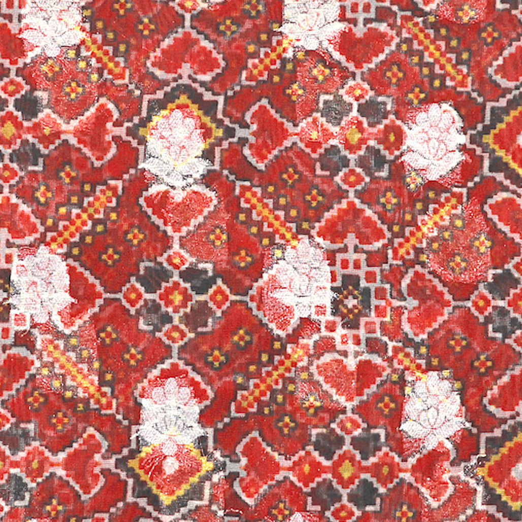 Maroon Digital Patola Print On Pure Hand-woven Organza Fabric With Light Gold Zari