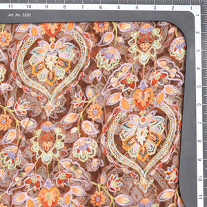Placement Print On Pure Organza Fabric With Thread Embroidery