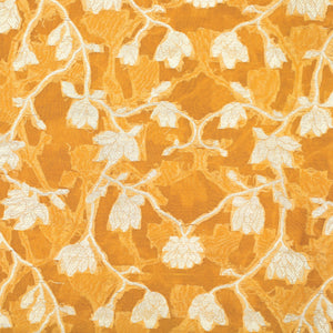 Mustard Yellow Hand-woven Banarasi Brocade Pure Organza Fabric With Light Gold Zari