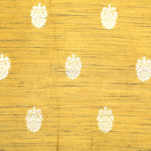 Mustard Yellow Hand-woven Banarasi Brocade Pure Khadi Silk With Light Gold Zari