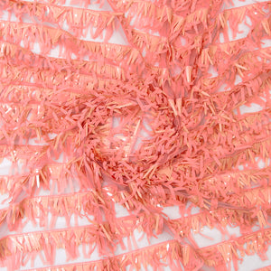 Peach Imported Embroidered Net Fabric With Tassels