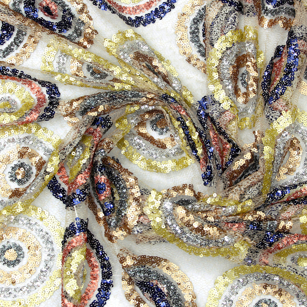 Beige Imported Embroidered Net Fabric With Multi-color Sequin Work
