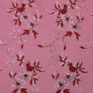Maroon Imported Embroidered Net Fabric With Pearl & Sequin Work