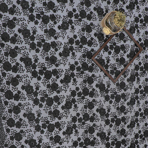 Black Imported Embroidered Net Fabric With With Beads & Pearl Hand-work